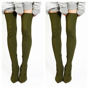 🔥NIB Paris Olive Satin Over-the-Knee Sock Boots